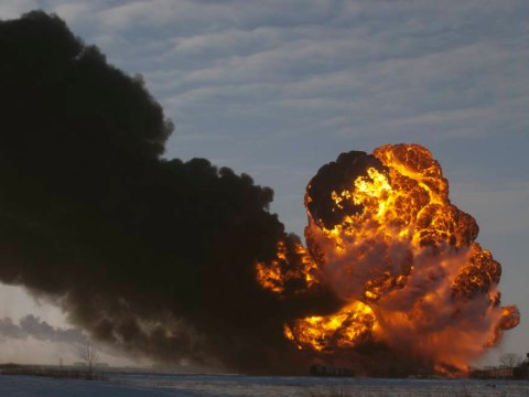 Video: Huge fireball after train carrying crude oil derails
