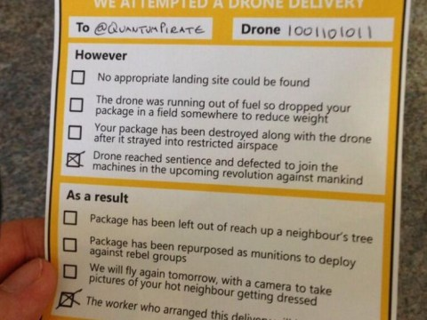 Quick-thinking Twitter user mocks up Amazon drone 'missed delivery' note
