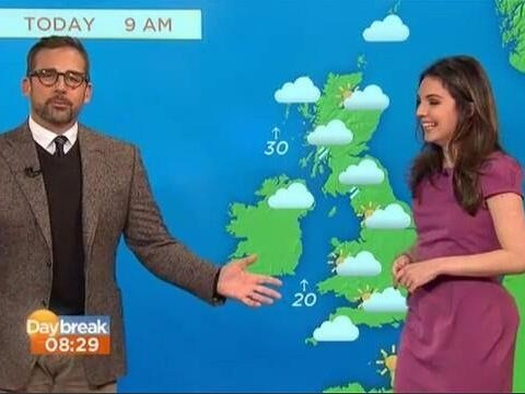 Steve Carell aka Brick Tamland helps out Daybreak with their weather report