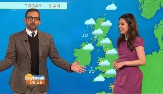 Anchorman 2: Steve Carell gatecrashes the Daybreak weather (Picture: ITV)