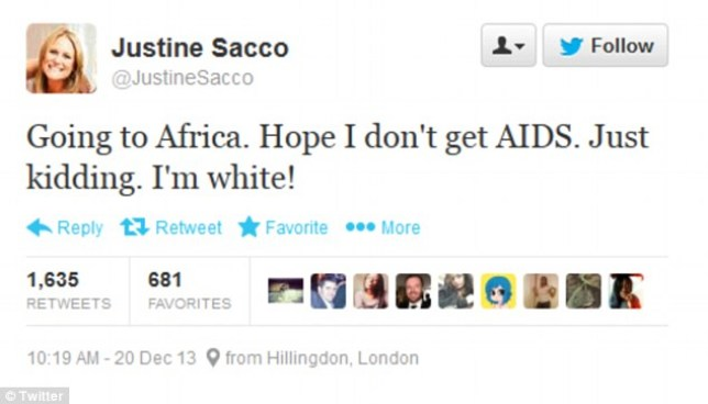 Justine Sacco's racist tweet about Aids in Africa