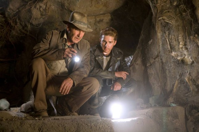 """This undated photo released by Paramount Pictures shows Harrison Ford (left) as Indiana Jones, co-starring with Shia LaBeouf in """"Indiana Jones and the Kingdom of the Crystal Skull."""" (AP Photo/David James, Paramount)"""
