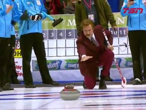 Stay classy, Winnipeg: Ron Burgundy goes curling ahead of Anchorman 2: The Legend Continues