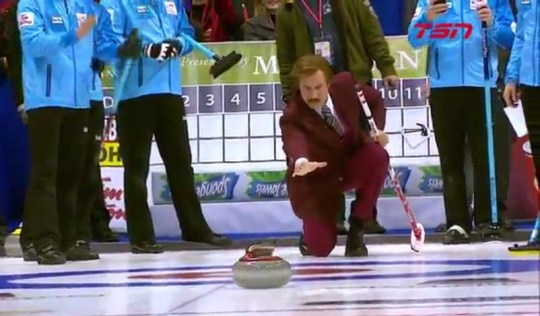 Ron Burgundy tries his hand at curling (Picture: TSN)