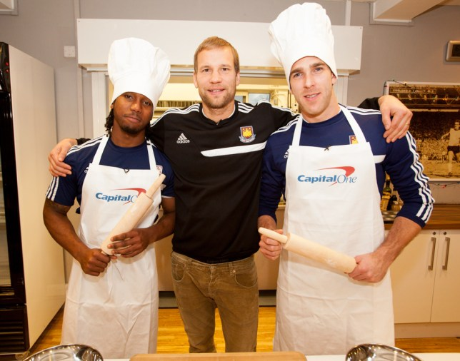 Leo Chambers, left, Jussi Jaaskelainen and Adrián take part in the Capital One Cup mince pie challenge