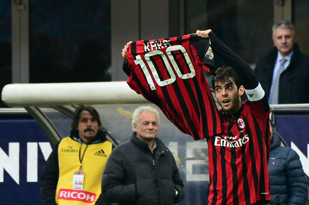 Kaka celebrates 100th AC Milan goal with specially made shirt