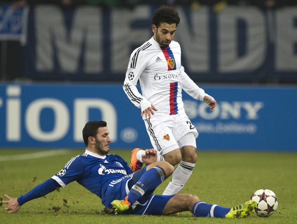Mohamed Salah, right, in action for Basle (Picture: AFP/Getty Images)