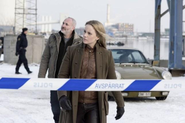 The Bridge: Martin Rohde (Kim Bodnia), Saga Noren (Sofia Helin) (Picture: Carolina Romare)