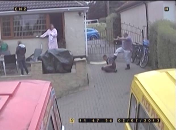 rossparry.co.uk/syndication/øPicture shows CCTV footage captured with the families own CCTV cameras of a member of the Rooke family assaulting Craig Kinsella at the Rooke Family home where Kinsella was forced to live in the garage and treated like a slave . øSEE COPY RPYKIDNAPPøDavid Rooke, Donna Rooke and son Jamie Rooke are standing trial on charges of falsely imprisoning and causing actual and grievous bodily harm to a 33-year-old man. The offences are alleged to have taken place at an address in Grenoside, Sheffield, during a six-week period between May and July 2013.