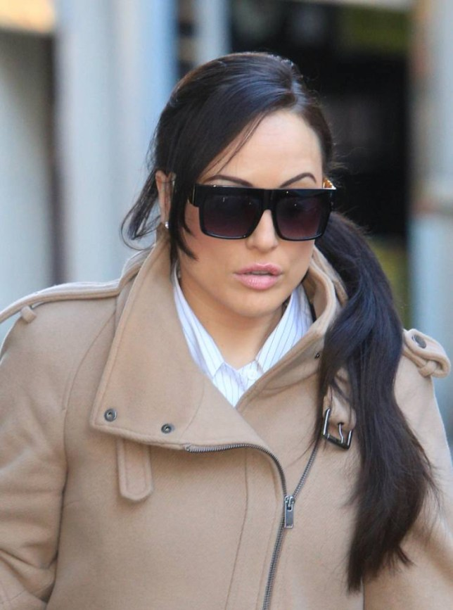 Lapdancer Charlotte Devaney, 34, arrives at Bristol Crown Court. 8 Jan 2014. See SWNS story SWSTRIP; A group of lapdancers have appeared in court accused of kidnapping a club boss who owed them money. Mandy Cool, 29, Charlotte Devaney, 34, and Rachel Goodchild, 24, and Stephanie Pye, 30, are alleged to have enlisted the help of two male friends to recoup money owed to them by Curtis Wood. The court is expected to hear that the girls, who are thought to be from a well-known club in London, were hired as dancers during the Cheltenham Festival in 2012.