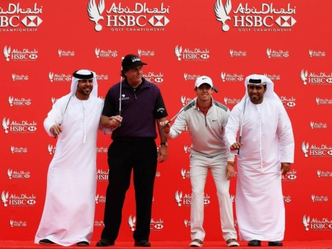 Sport's most cringeworthy publicity stunt ever? Rory McIlroy and Phil Mickelson 'star' in embarrassing routine for Abu Dhabi HSBC Championship – video