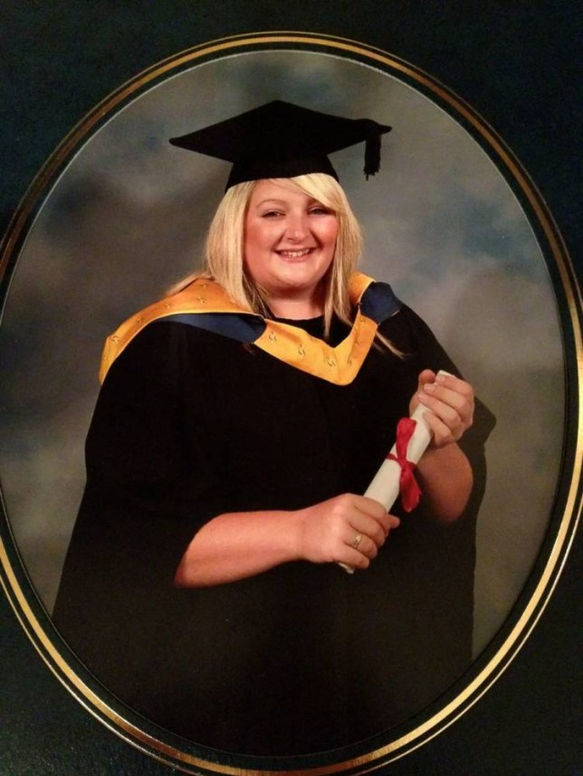 Collect photo of super-slimmer Melissa Dowsell. Picture of Melissa at her graudation in July 2010. This photo prompted Melissa to lose weight and she wouldn't let her mum hang up the photo untill she had lost the weight. See SWNS story SWTHROAT: A super-slimmer who used to eat THREE takeaways a day shed five stone after she got so fat her throat closed. Melissa Dowell, 26, was a healthy size 12 when she started university in 2006 but piled on the pounds when she began gorging out on takeaway food. She piled on five stone in four years - a mammoth three stone in her final year - and graduated university a massive 15 stone. Crippled with embarrassment, Melissa felt she was too fat to leave her home and did not want to see old friends who knew her before she piled on the pounds.