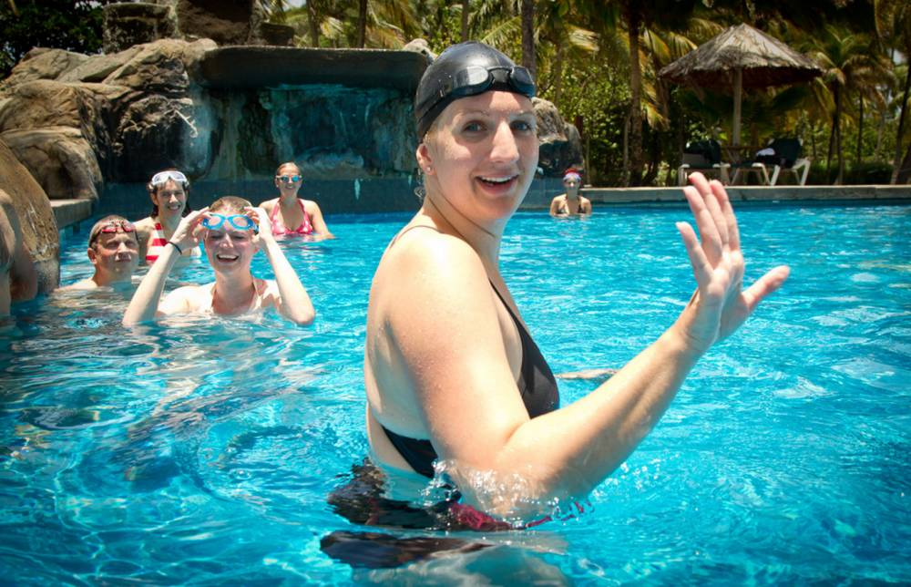 Just an ordinary swimming lesson. With Rebecca Adlington. In the Caribbean