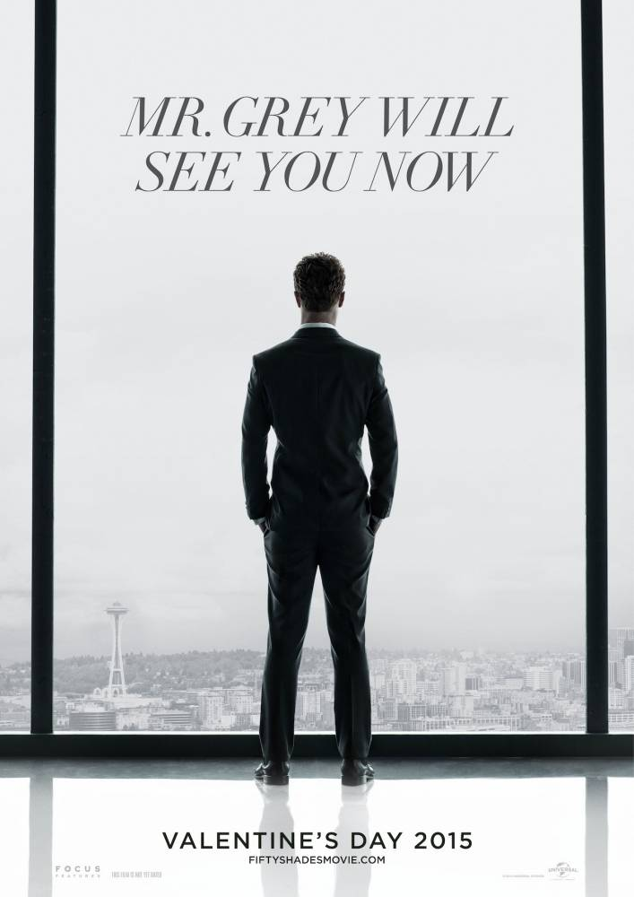 Christian Grey appears in this first poster for Fifty Shades of Grey (Picture: Focus Features)