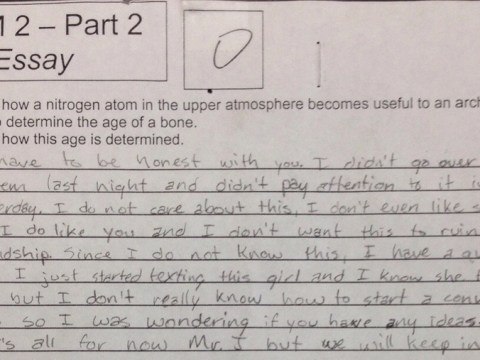 Student asks teacher for dating advice in exam answer; gets excellent response