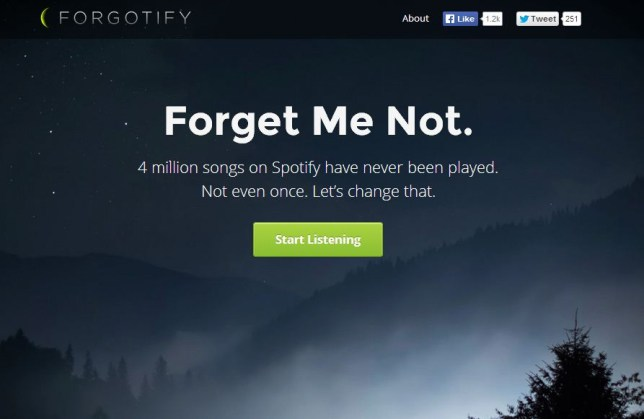 Forgotify unearths tracks that no one has played on Spotify (Picture: Forgotify)