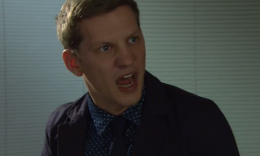 John Paul McQueen confronted Finn O'Connor over a robbery in Hollyoaks - but things soon turned nasty (Picture: E4)