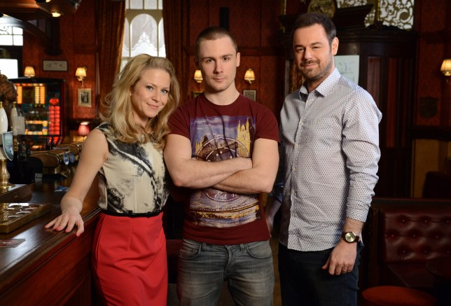 Caption: Mick Carter (Danny Dyer) and Linda Carter (Kellie Bright) welcome their son Lee Carter (Danny-Boy Hatchard) to The Vic