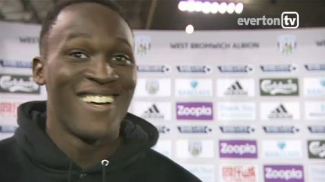 No laughing matter: Lukaku discusses the Anelka issue (Picture: Everton TV)