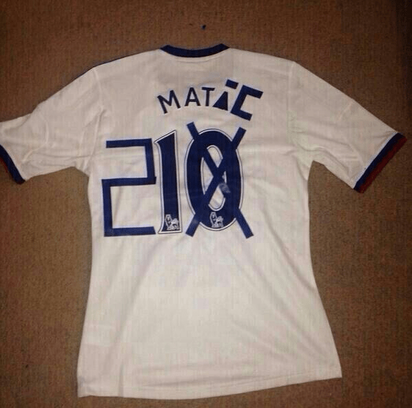 A bold Chelsea fan has recycled his Juan Mata shirt (Picture: Twitter)