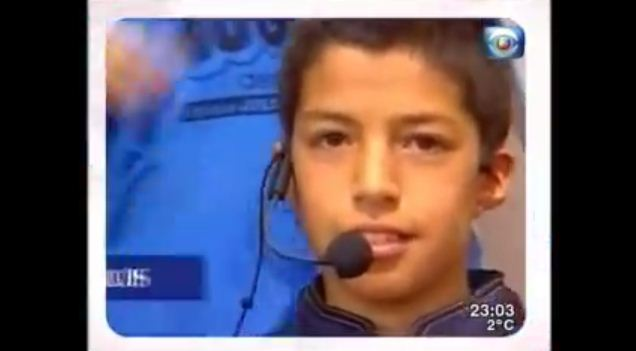 A baby-faced Luis Suarez was on the Uruguayan version of Funhouse (Picture: Youtube)