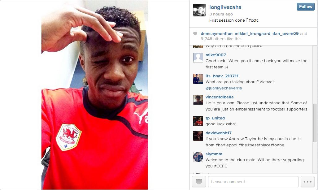 Manchester United's Wilfried Zaha reveals Cardiff move with Instagram picture