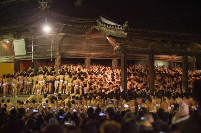 You'll be lucky: 9,000 half-naked men hustle for pair of sacred sticks in Japanese festival