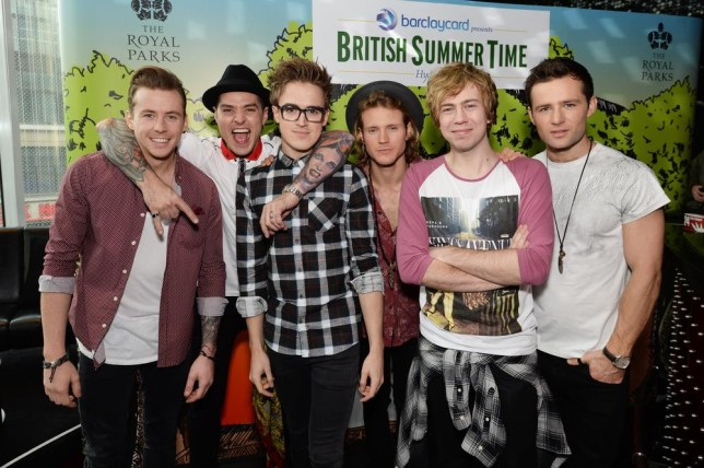 LONDON, ENGLAND - DECEMBER 09: Tom Fletcher, Danny Jones, Dougie Poynter, Harry Judd, James Bourne and Matt Willis of McBusted attend a photocall to announce their date at Barclaycard presents British Summertime on 6th July in Hyde Park on December 9, 2013 in London, England. Dave J Hogan/Getty Images
