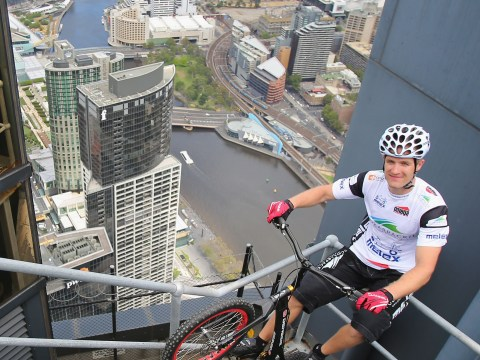 Gallery: Krystian Herba world record attempt up Eureka Tower on a bicycle