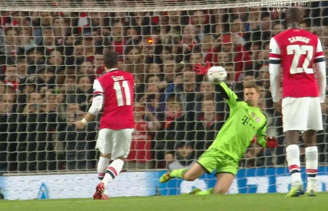 Watch Mesut Ozil's terrible penalty cost Arsenal against Bayern Munich