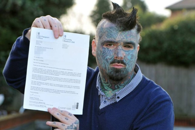 BPM MEDIA Pictured King of Ink land King Body Art The Extreme Ink-ite from Stechford, Birmingham, cannot get his passport renewed