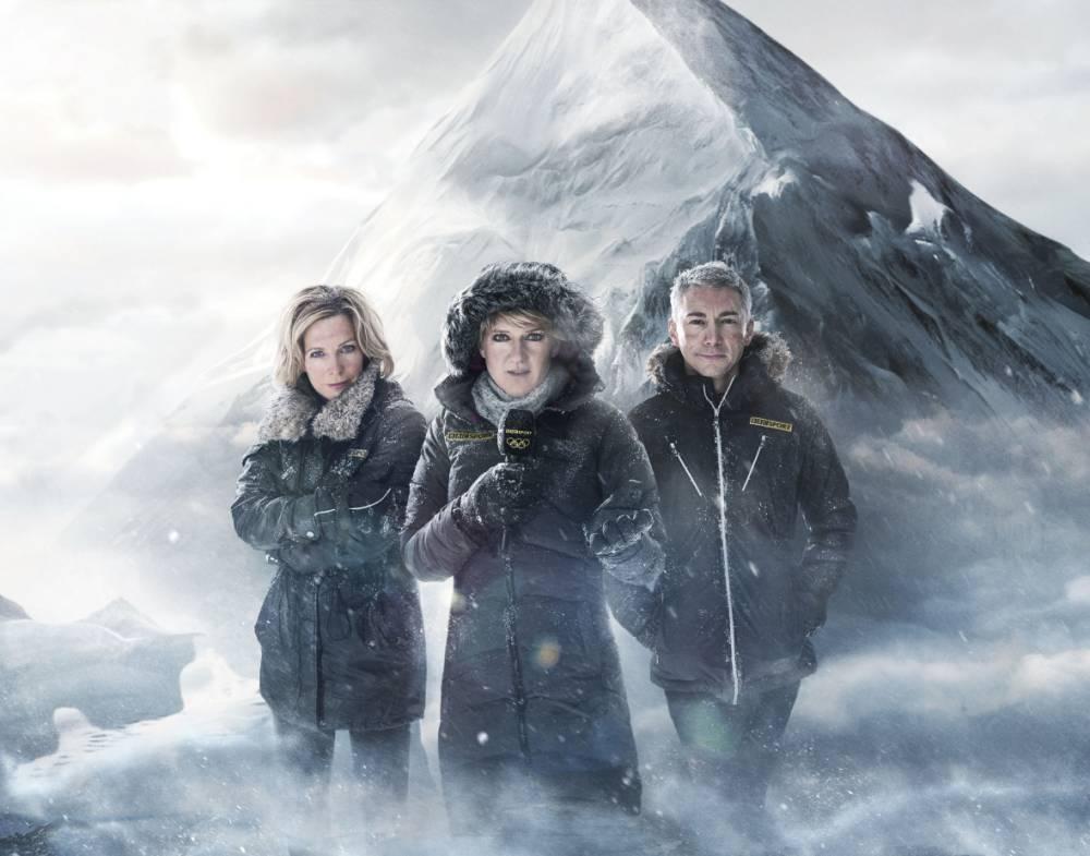 Hazel Irvine, Clare Balding, Jonathan Edwards (Picture: BBC/Adrian Myers)