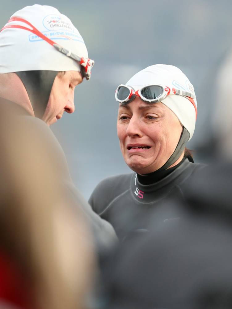 Exhausted swimmer Davina is a crier… but a real trier as she gets back in the saddle