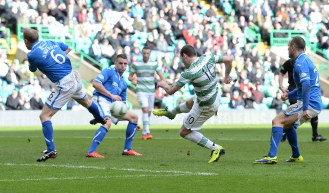 16/02/14 SCOTTISH PREMIERSHIP CELTIC v ST JOHNSTONE CELTIC PARK - GLASGOW Celtic's Anthony Stokes scores his second goal of the match.