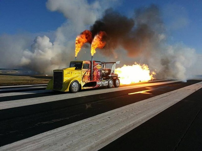 Burning up the highway in jet lorry