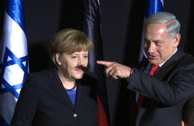 Finger of fate spoils a moment in history for Angela Merkel and Benjamin Netanyahu