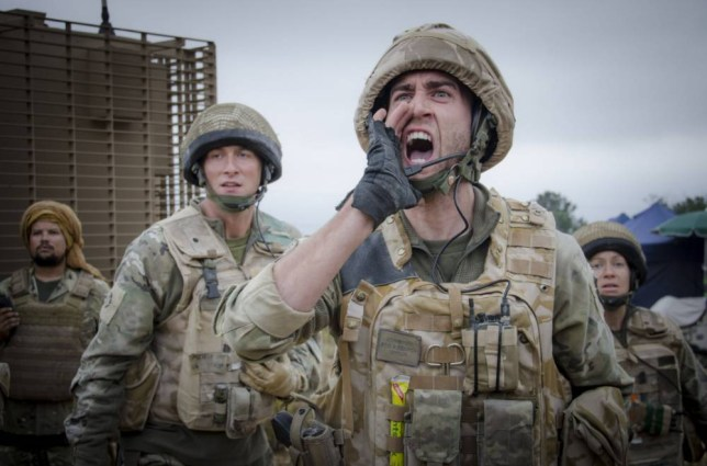 Faruq (Keeno Lee Hector), Nick Medhurst (Oliver Chris), Cpl Gordon House (Matthew Lewis) and Bird (Katie Lyons) in Bluestone 42 (Picture: BBC)