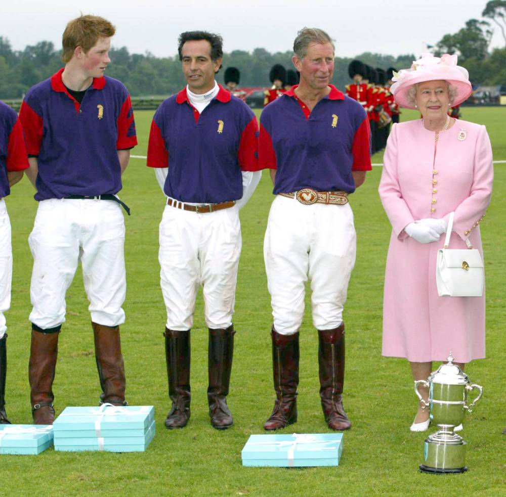 Photo must be credited ©Stephen Daniels/Alpha 051803 18/06/2003   Prince Harry, Carlos Gracida, Prince Charles and Queen Elizabeth II at the Eton Tea Party and GCC Polo Cup at Windsor Great Park