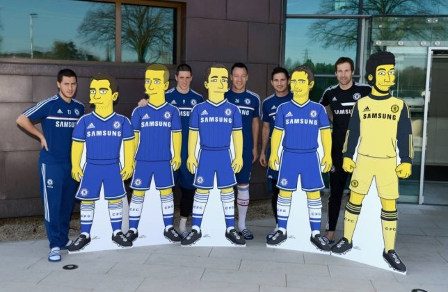 Chelsea FC via Press Association Images MINIMUM FEE 40GBP PER IMAGE - CONTACT PRESS ASSOCIATION IMAGES FOR FURTHER INFORMATION. Chelsea's Eden Hazard, Fernando Torres, John Terry, Frank Lampard, Petr Cech with his Simpson character from the Simpsons show at the Cobham Training Ground