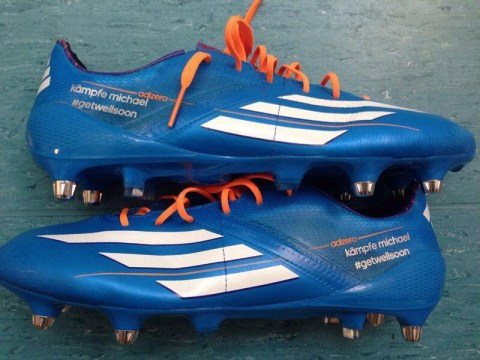 Get well soon! Lukas Podolski cheers on Michael Schumacher with new boots