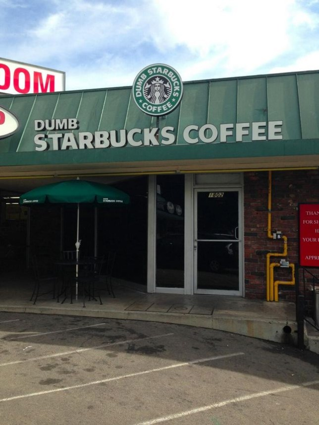 Dumb Starbucks attracted long queues following its debut in Los Angeles. The store has the same menu, layout and signage as a normal Starbucks, but everything is prefixed with the word 'dumb' (Picture: Twitter/DumbStarbucks)