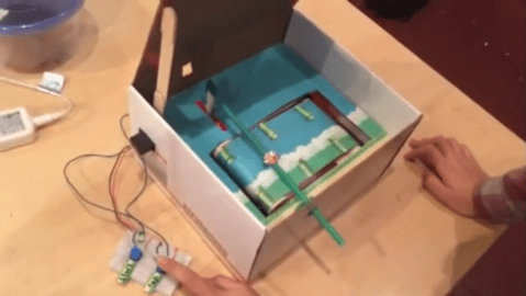 Playing Flappy Bird in a box is much more fun than on your phone