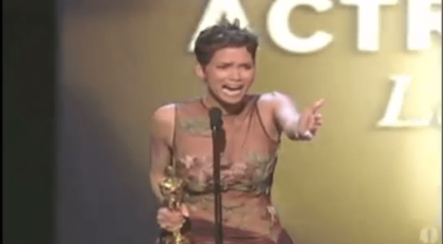 Halle Berry sobs her way through her accpetance speech (Picture: YouTube)