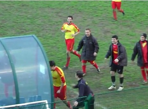Player celebrates goal by smashing dugout with headbutt, gets sent off