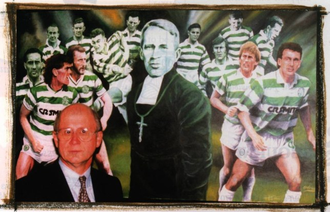 CELTIC FC MANAGING DIRECTOR FERGUS MCCANN IN FRONT OF A PICTURE OF THE FOUNDER OF CELTIC FC BROTHER WALFRID