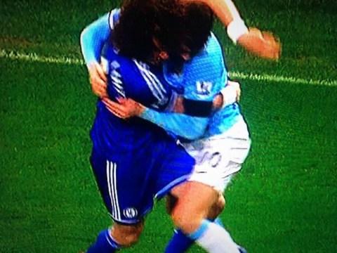 Edin Dzeko and David Luiz have Valentine's cuddle during FA Cup clash
