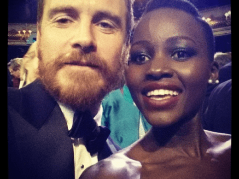 Lupita Nyong'o poses for 'losers selfie' with Michael Fassbender after both fail to bag best supporting Baftas