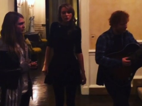 Taylor Swift joins Ed Sheeran and Cara Delevingne for a sing-song in a US ambassador's house