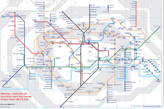 This is what the Tube map will look like during the strikes