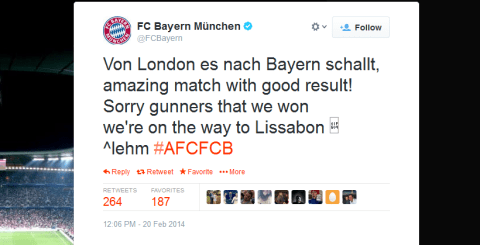 Bayern Munich troll Arsenal on Twitter after beating them in Champions League